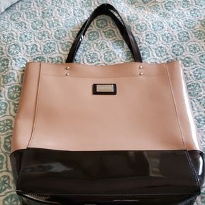 Cynthia Rowley Tan and Black Patent Leather Tote